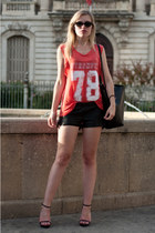 black Zara bag - red Zara shirt - black Episode shorts