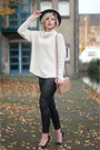 Black-fedora-boohoo-hat-beige-h-m-sweater-black-nelly-pants