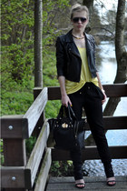 yellow H&M vest - black Oasis jacket - black melie bianco bag