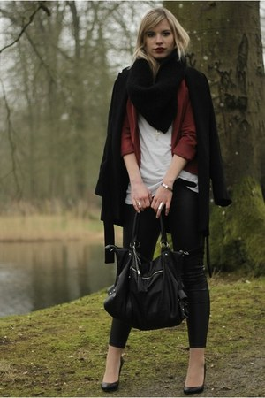black Zara coat - black H&amp;M leggings - crimson burgundy Vero Moda blazer