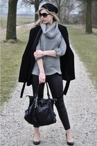 black Zara coat - black H&M hat - heather gray Only sweater - black H&M leggings