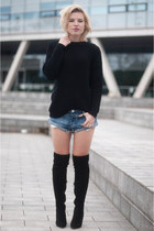 black Mango sweater - black mai piu senza boots - blue One Teaspoon shorts