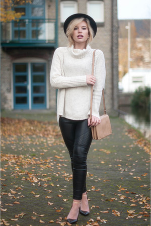 beige H&M sweater - black fedora Boohoo hat - black Nelly pants