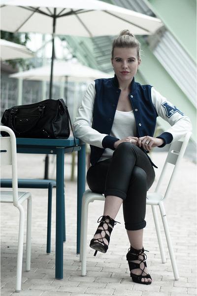 navy American College jacket - black Modemusthaves bag - black pieces pants