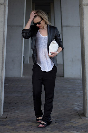 black Mango jacket - white Zara bag - black Ray Ban sunglasses