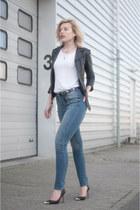 blue asos jeans - black Topshop jacket - black Guess pumps - black asos belt