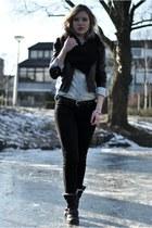 black Oasis jacket - black Shoeby boots - black curve id black Levis jeans