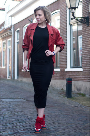 crimson vintage jacket - black H&M dress - ruby red Isabel Marant sneakers
