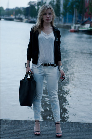 black adidas cardigan - black Zara bag - white oversized baggy H&M t-shirt