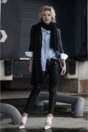 black H&M jacket - sky blue costes shirt - black knit knitwear Monki scarf