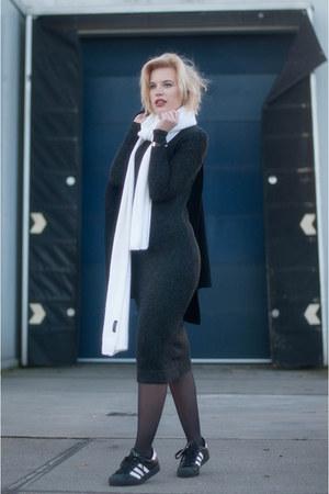 dark gray Zara dress - black Drykorn coat - white long knit Zara scarf
