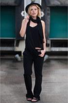 black fedora Lierys hat - black Birkenstock sandals - black Zara pants