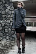 navy H&M sweater - black Sacha boots - black Loavies skirt