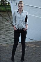 black Mango boots - black Levis jeans - black Frenchonista bag