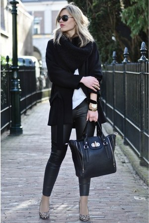black Zara coat - black H&amp;M leggings - black melie bianco bag
