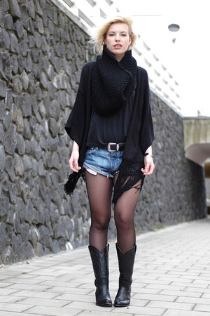 black sendra boots - black DIY scarf - blue One Teaspoon shorts