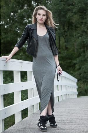 black Oasis jacket - heather gray H&M dress - black Ray Ban sunglasses