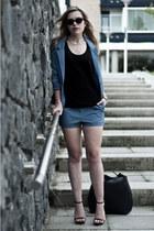 sky blue H&M blazer - black Zara bag - sky blue H&M shorts