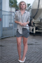 heather gray Zara shirt - heather gray Zara shorts - white Mango pumps