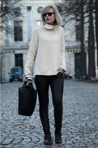 black Sacha boots - cream H&M sweater - black Zara bag