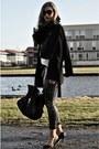 Black-zara-coat-black-oasis-jacket-silver-sequin-sequined-red-rouge-leggings