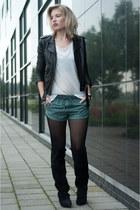 teal Zara shorts - black H&M boots - black H&M jacket - white H&M t-shirt