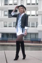 black duo boots boots - black fedora Lierys hat - black H&M jacket