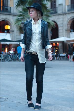 black fedora hat H&M hat - dark gray Levis jeans - black H&M jacket