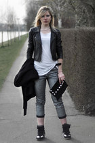 black Oasis jacket - silver H&M jeans - black Frenchonista bag