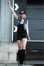 Black-h-m-new-icons-boots-black-coolcat-hat-black-vintage-shorts