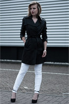 black Mango coat - white Mango jeans - black Carvela heels