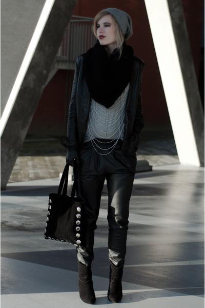 black Mango boots - black Mango blazer - black Frenchonista bag