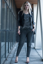 charcoal gray Scapino pants - black Oasis jacket