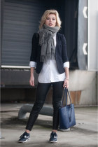 heather gray Acne Studios scarf - navy Boohoo jacket - white asos shirt