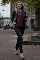 black Mango blazer - crimson Zara shirt - black Mango pants - black Zara sandals