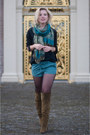 Olive-green-topshop-boots-turquoise-blue-pashmina-silk-v-d-scarf