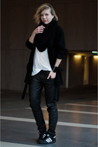 black Zara coat - black Adidas sneakers - white H&M t-shirt - black G-Star pants