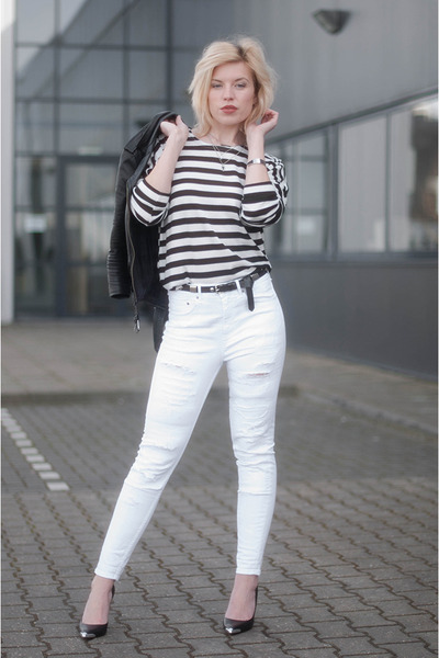 black Topshop jacket - white asos jeans - black Guess heels