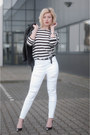 White-asos-jeans-black-topshop-jacket-black-guess-heels