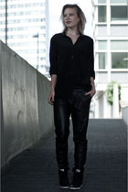 black Vero Moda shirt - black Mango pants - black nike sneakers
