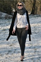 black Zara coat - charcoal gray Scapino scarf - white Zara blouse