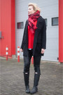 Black-hunter-boots-black-drykorn-coat-red-h-m-sweater-ruby-red-h-m-scarf