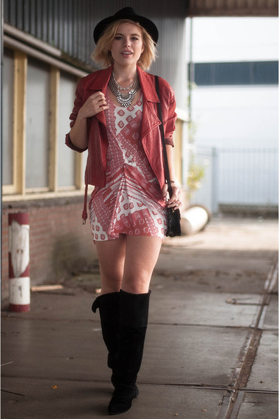 silver River Island necklace - black H&M boots - red Zara dress