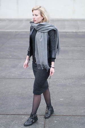 black Sacha boots - gray Zara dress - black Topshop jacket