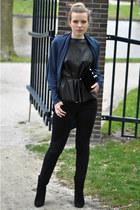 black H&M Trend top - black Mango boots - black Levis jeans