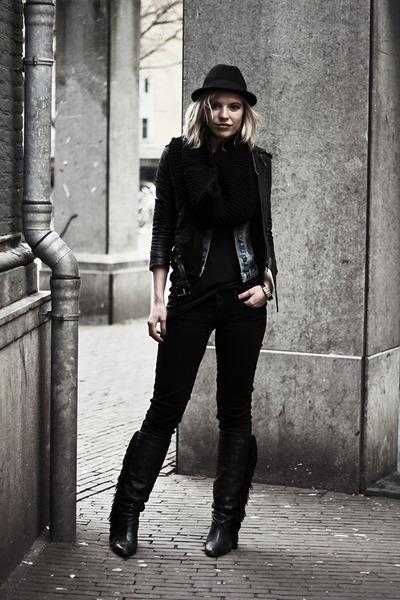 black Sacha boots - black Levis jeans - black H&M hat - black H&M jacket