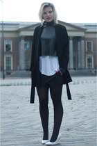 black Zara coat - black Zara top - black Zara skirt - white Zara vest