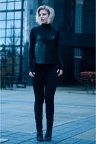 black sam edelman boots - black Levis jeans - black COS sweater