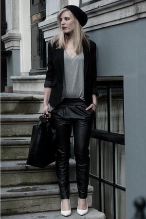 black Mango pants - black H&M hat - black Scapino blazer - black Zara bag