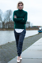 forest green H&M Trend sweater - navy H&M Trend pants - white Mango wedges